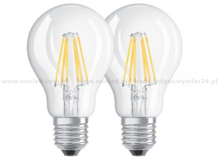 OSRAM LED BASE CLASSIC A60 žárovka E27 6W=60W 2700K, 806lm, double pack